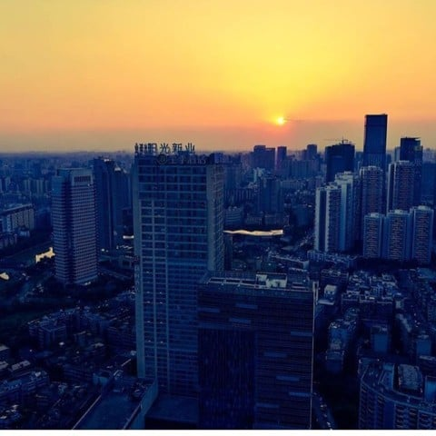 Sunset over Chengdu city 🌇 @chinafeelings